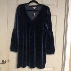 Madewell Long Sleeve Velvet Dress in navy